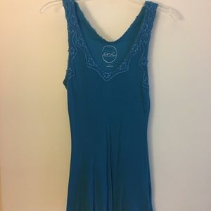 Teal INC tank with lace embellishments